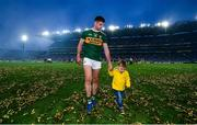14 September 2019; Paul Geaney of Kerry leaves the field with his son Paidi following the GAA Football All-Ireland Senior Championship Final Replay match between Dublin and Kerry at Croke Park in Dublin. Photo by David Fitzgerald/Sportsfile