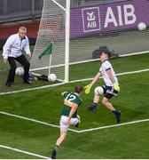 14 September 2019; Stephen Cluxton of Dublin saves a shot from Stephen O'Brien of Kerry during the GAA Football All-Ireland Senior Championship Final Replay match between Dublin and Kerry at Croke Park in Dublin. Photo by Daire Brennan/Sportsfile