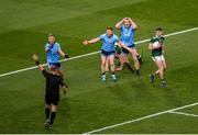 14 September 2019; Dublin players, left to right, Jonny Cooper, Philip McMahon, and Brian Fenton react to a decision by Referee Conor Lane during the GAA Football All-Ireland Senior Championship Final Replay match between Dublin and Kerry at Croke Park in Dublin. Photo by Daire Brennan/Sportsfile