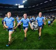 14 September 2019; Dublin players, from left, John Small, Brian Fenton and Ciarán Kilkenny celebrates with the Sam Maguire Cup following the GAA Football All-Ireland Senior Championship Final Replay between Dublin and Kerry at Croke Park in Dublin. Photo by Seb Daly/Sportsfile