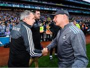 14 September 2019; Kerry manager Peter Keane, left, and Dublin manager Jim Gavin shake hands following the GAA Football All-Ireland Senior Championship Final Replay between Dublin and Kerry at Croke Park in Dublin. Photo by Seb Daly/Sportsfile