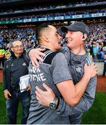 14 September 2019; Dublin manager Jim Gavin, right, and forwards coach Jason Sherlock congratulate each other following the GAA Football All-Ireland Senior Championship Final Replay between Dublin and Kerry at Croke Park in Dublin. Photo by Seb Daly/Sportsfile