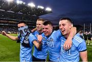 14 September 2019;  Dublin players, from left, Niall Scully, Paul Mannion, Brian Howard and Cormac Costello  celebrate following the GAA Football All-Ireland Senior Championship Final Replay match between Dublin and Kerry at Croke Park in Dublin. Photo by Sam Barnes/Sportsfile