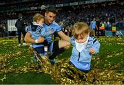 14 September 2019; Dublin's Bernard Brogan with his twins Keadán and Donagh Brogan following the GAA Football All-Ireland Senior Championship Final Replay match between Dublin and Kerry at Croke Park in Dublin. Photo by Ramsey Cardy/Sportsfile