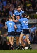 14 September 2019; Dublin players John Small, 7, Cormac Costello, Michael Fitzsimons, 3, and Dean Rock, 15, celebrate following the GAA Football All-Ireland Senior Championship Final Replay between Dublin and Kerry at Croke Park in Dublin. Photo by Stephen McCarthy/Sportsfile