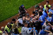 14 September 2019; Stephen Cluxton of Dublin celebrates with supporters after the GAA Football All-Ireland Senior Championship Final Replay match between Dublin and Kerry at Croke Park in Dublin. Photo by Daire Brennan/Sportsfile