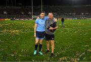 14 September 2019; Bernard Brogan of Dublin with media manager Seamus McCormack following the GAA Football All-Ireland Senior Championship Final Replay between Dublin and Kerry at Croke Park in Dublin. Photo by Stephen McCarthy/Sportsfile