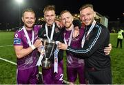 14 September 2019; Dundalk players, from left, Dane Massey, Daniel Cleary, Sean Hoare and Andy Boyle celebrate after the EA Sports Cup Final match between Derry City and Dundalk at Ryan McBride Brandywell Stadium in Derry. Photo by Oliver McVeigh/Sportsfile