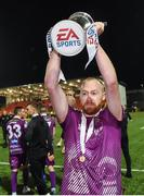 14 September 2019; Chris Shields of Dundalk, who scored of the winning penalty in the penalty shoot-out, celebrates after the EA Sports Cup Final match between Derry City and Dundalk at Ryan McBride Brandywell Stadium in Derry. Photo by Oliver McVeigh/Sportsfile