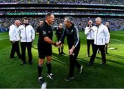 14 September 2019; Referee Conor Lane, surrounded by his officials, shakes hands with Kerry manager Peter Keane before GAA Football All-Ireland Senior Championship Final Replay match between Dublin and Kerry at Croke Park in Dublin. Photo by Ray McManus/Sportsfile