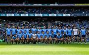 14 September 2019; The Dublin squad, back row, from left, Brian Fenton, Dean Rock, Con O'Callaghan, Ciarán Kilkenny, James McCarthy, Michael Darragh Macauley, John Small, Paul Mannion, Michael Fitzsimons, Diarmuid Connolly, Bernard Brogan, Eric Lowndes, Niall Scully, Evan Comerford, and Kevin McManamon, front row, from left, David Byrne, Cormac Costello, Brian Howard, Cian O'Sullivan, Stephen Cluxton, Philip McMahon, Eoin Murchan, Paddy Small, Paddy Andrews, Jack McCaffrey, and Jonny Cooper, before the GAA Football All-Ireland Senior Championship Final Replay match between Dublin and Kerry at Croke Park in Dublin. Photo by Ray McManus/Sportsfile