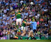 14 September 2019; David Moran of Kerry fists the ball from the throw in to start the second half of the GAA Football All-Ireland Senior Championship Final Replay between Dublin and Kerry at Croke Park in Dublin. Photo by Stephen McCarthy/Sportsfile