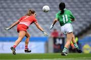 15 September 2019; Deirbhile Osborne of Louth in action against Lisa Maguire of Fermanagh during the TG4 All-Ireland Ladies Football Junior Championship Final match between Fermanagh and Louth at Croke Park in Dublin. Photo by Piaras Ó Mídheach/Sportsfile