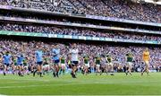 14 September 2019; Both teams during the parade ahead of the GAA Football All-Ireland Senior Championship Final Replay match between Dublin and Kerry at Croke Park in Dublin. Photo by Sam Barnes/Sportsfile