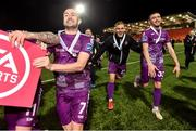14 September 2019; Michael Duffy, Georgie Kelly and Dan Jarvis of Dundalk celebrate after the EA Sports Cup Final match between Derry City and Dundalk at Ryan McBride Brandywell Stadium in Derry. Photo by Oliver McVeigh/Sportsfile