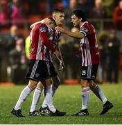 14 September 2019; Jack Malone of Derry City, left, is consoled by Ciaron Harkin and Barry McNamee after missing a penalty during the penalty shoot out during the EA Sports Cup Final match between Derry City and Dundalk at Ryan McBride Brandywell Stadium in Derry. Photo by Oliver McVeigh/Sportsfile