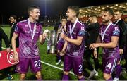 14 September 2019; Georgie Kelly, Sean Gannon and Dane Massey of Dundalk celebrate after the EA Sports Cup Final match between Derry City and Dundalk at Ryan McBride Brandywell Stadium in Derry. Photo by Oliver McVeigh/Sportsfile