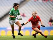 15 September 2019; Lisa Maguire of Fermanagh in action against Eilis Hand of Louth during the TG4 All-Ireland Ladies Football Junior Championship Final match between Fermanagh and Louth at Croke Park in Dublin. Photo by Stephen McCarthy/Sportsfile