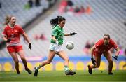 15 September 2019; Lisa Maguire of Fermanagh shoots to score her side's first goal despite the attention of Eilis Hand of Louth during the TG4 All-Ireland Ladies Football Junior Championship Final match between Fermanagh and Louth at Croke Park in Dublin. Photo by Stephen McCarthy/Sportsfile