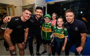 15 September 2019; Kerry supporters Pat, age 10 and Kate Costello, age 11, from Killorglin, Co Kerry pictured with Dublin players, from left, Brian Howard, Cian O'Sullivan and Rob McDaid on a visit by the All-Ireland Senior Football Champions to the Children's Health Ireland at Crumlin in Dublin. Photo by David Fitzgerald/Sportsfile