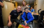 15 September 2019; Lorraine and Shane Sheehan, age 14, from Ballyduff, Co Kerry pictured with Dublin manager Jim Gavin on a visit by the All-Ireland Senior Football Champions to the Children's Health Ireland at Crumlin in Dublin. Photo by David Fitzgerald/Sportsfile