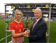 15 September 2019; Kate Flood of Louth is presented with the Player of the Match award by Rónán Ó Coisdealbha, Head of Sport, TG4, following the TG4 All-Ireland Ladies Football Junior Championship Final match between Fermanagh and Louth at Croke Park in Dublin. Photo by Stephen McCarthy/Sportsfile