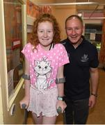 15 September 2019; Kate Cullivan, age 11, from Naas, Co Kildare pictured with Dublin manager Jim Gavin on a visit by the All-Ireland Senior Football Champions to the Children's Health Ireland at Crumlin in Dublin. Photo by David Fitzgerald/Sportsfile