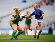 15 September 2019; Vikki Wall of Meath in action against Samantha Lambert of Tipperary during the TG4 All-Ireland Ladies Football Intermediate Championship Final match between Meath and Tipperary at Croke Park in Dublin. Photo by Stephen McCarthy/Sportsfile