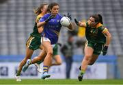 15 September 2019; Anna Rose Kennedy of Tipperary in action against Aoibhín Cleary, left, and Shauna Ennis of Meath during the TG4 All-Ireland Ladies Football Intermediate Championship Final match between Meath andTipperary at Croke Park in Dublin. Photo by Piaras Ó Mídheach/Sportsfile