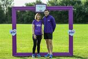 14 September 2019; David Gillick and Sineag Grey from the VHI pictured at the Navan parkrun at Blackwater Park, in Navan, Co. Meath, where Vhi hosted a special event to celebrate their partnership with parkrun Ireland. Vhi ambassador and Olympian David Gillick was on hand to lead the warm up for parkrun participants before completing the 5km free event. Parkrunners enjoyed refreshments post event at the Vhi Rehydrate, Relax, Refuel and Reward areas. Parkrun in partnership with Vhi support local communities in organising free, weekly, timed 5k runs every Saturday at 9.30am. To register for a parkrun near you visit www.parkrun.ie.  Photo by Matt Browne/Sportsfile