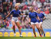 15 September 2019; Aisling McCarthy of Tipperary celebrates with team-mate Orla O'Dwyer, left, after scoring her side's second goal during the TG4 All-Ireland Ladies Football Intermediate Championship Final match between Meath and Tipperary at Croke Park in Dublin. Photo by Stephen McCarthy/Sportsfile