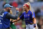 15 September 2019; Tipperary manager Shane Ronayne celebrates with Orla O'Dwyer after the TG4 All-Ireland Ladies Football Intermediate Championship Final match between Meath andTipperary at Croke Park in Dublin. Photo by Piaras Ó Mídheach/Sportsfile