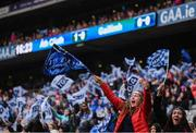 15 September 2019; Dublin supporters celebrate their side's first goal during the TG4 All-Ireland Ladies Football Senior Championship Final match between Dublin and Galway at Croke Park in Dublin. Photo by Stephen McCarthy/Sportsfile