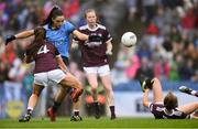 15 September 2019; Sinéad Goldrick of Dublin shoots to score her side's first goal as Sarah Lynch of Galway, 4, closes in during the TG4 All-Ireland Ladies Football Senior Championship Final match between Dublin and Galway at Croke Park in Dublin. Photo by Piaras Ó Mídheach/Sportsfile