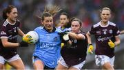 15 September 2019; Aoife Kane of Dublin in action against Sarah Lynch, left, and Mairéad Seoighe of Galway during the TG4 All-Ireland Ladies Football Senior Championship Final match between Dublin and Galway at Croke Park in Dublin. Photo by Piaras Ó Mídheach/Sportsfile