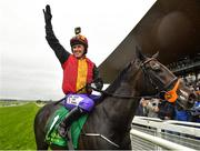 15 September 2019; Jockey AP McCoy celebrates after winning the Pat Smullen Champions Race For Cancer Trials Ireland on Quizical during Day Two of the Irish Champions Weekend at The Curragh Racecourse in Kildare. Photo by Seb Daly/Sportsfile