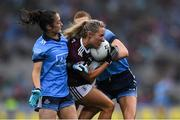 15 September 2019; Megan Glynn of Galway in action against Éabha Rutledge, left, and Lauren Magee of Dublin during the TG4 All-Ireland Ladies Football Senior Championship Final match between Dublin and Galway at Croke Park in Dublin. Photo by Piaras Ó Mídheach/Sportsfile