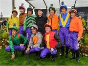 15 September 2019; Pat Smullen, centre, with jockeys, back row from left, Johnny Murtagh, Joseph O'Brien, Paul Carberry, Charlie Swan, Richard Hughes and Kieren Fallon, front row, Ted Durcan, Ruby Walsh and AP McCoy, prior to Pat Smullen Champions Race For Cancer Trials Ireland during Day Two of the Irish Champions Weekend at The Curragh Racecourse in Kildare. Photo by Seb Daly/Sportsfile