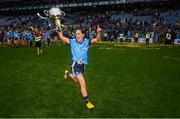 15 September 2019; Hannah O'Neill of Dublin celebrates with the Brendan Martin Cup following the TG4 All-Ireland Ladies Football Senior Championship Final match between Dublin and Galway at Croke Park in Dublin. Photo by Stephen McCarthy/Sportsfile