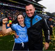 15 September 2019; Lyndsey Davey of Dublin and Dublin manager Mick Bohan celebrate following the TG4 All-Ireland Ladies Football Senior Championship Final match between Dublin and Galway at Croke Park in Dublin. Photo by Stephen McCarthy/Sportsfile