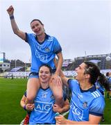 15 September 2019; Dublin players Sinéad Aherne, top, Noëlle Healy, and Niamh Collins celebrate after the TG4 All-Ireland Ladies Football Senior Championship Final match between Dublin and Galway at Croke Park in Dublin. Photo by Piaras Ó Mídheach/Sportsfile