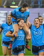 15 September 2019; Noëlle Healy carries Dublin captain Sinéad Aherne following the TG4 All-Ireland Ladies Football Senior Championship Final match between Dublin and Galway at Croke Park in Dublin. Photo by Ramsey Cardy/Sportsfile