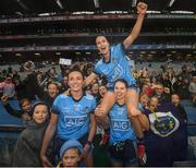 15 September 2019; Niamh McEvoy, left, Sinéad Aherne, above, and Noëlle Healy of Dublin following the TG4 All-Ireland Ladies Football Senior Championship Final match between Dublin and Galway at Croke Park in Dublin. Photo by Ramsey Cardy/Sportsfile