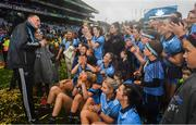 15 September 2019; Dublin manager Mick Bohan introduces his team to Niamh McMorrow of Trim, Co Meath, following the TG4 All-Ireland Ladies Football Senior Championship Final match between Dublin and Galway at Croke Park in Dublin. Photo by Ramsey Cardy/Sportsfile
