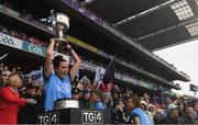 15 September 2019; Niamh McEvoy of Dublin lifts the the Brendan Martin Cup following the TG4 All-Ireland Ladies Football Senior Championship Final match between Dublin and Galway at Croke Park in Dublin. Photo by Ramsey Cardy/Sportsfile