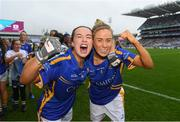 15 September 2019; Bríd Condon, left, and Samantha Lambert of Tipperary celebrate following the TG4 All-Ireland Ladies Football Intermediate Championship Final match between Meath andTipperary at Croke Park in Dublin. Photo by Ramsey Cardy/Sportsfile