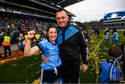 15 September 2019; Lyndsey Davey and Dublin manager Mick Bohan following the TG4 All-Ireland Ladies Football Senior Championship Final match between Dublin and Galway at Croke Park in Dublin. Photo by Stephen McCarthy/Sportsfile