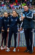 15 September 2019; Dublin manager Mick Bohan with injured players Siobhan Kileen and Nicole Owens, left, prior to the TG4 All-Ireland Ladies Football Senior Championship Final match between Dublin and Galway at Croke Park in Dublin. Photo by Stephen McCarthy/Sportsfile