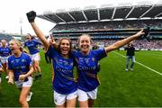 15 September 2019; Elaine Fitzpatrick, left, and Caoimhe Condon of Tipperary celebrate following the TG4 All-Ireland Ladies Football Intermediate Championship Final match between Meath and Tipperary at Croke Park in Dublin. Photo by Stephen McCarthy/Sportsfile