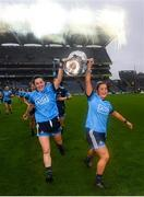 15 September 2019; Lyndsey Davey, left, and Sarah Fagan of Dublin celebrate following the TG4 All-Ireland Ladies Football Senior Championship Final match between Dublin and Galway at Croke Park in Dublin. Photo by Stephen McCarthy/Sportsfile